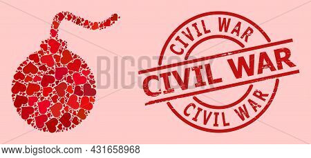 Scratched Civil War Badge, And Red Love Heart Collage For Bomb. Red Round Badge Includes Civil War T