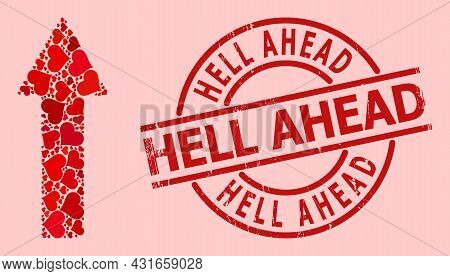 Rubber Hell Ahead Stamp Seal, And Red Love Heart Mosaic For Up Arrow. Red Round Stamp Seal Includes