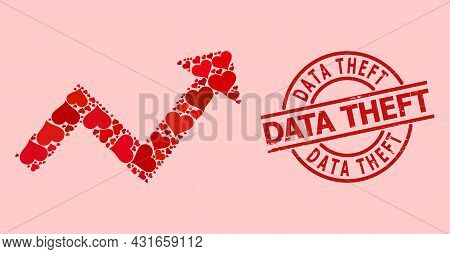 Scratched Data Theft Seal, And Red Love Heart Mosaic For Trend Up Arrow. Red Round Seal Contains Dat