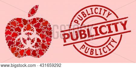 Rubber Publicity Stamp Seal, And Red Love Heart Mosaic For Infected Apple. Red Round Stamp Contains