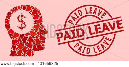 Distress Paid Leave Seal, And Red Love Heart Collage For Bank Thinking. Red Round Stamp Seal Include