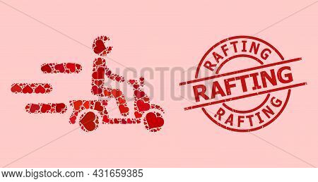 Textured Rafting Stamp Seal, And Red Love Heart Collage For Fast Motorbike. Red Round Stamp Seal Has