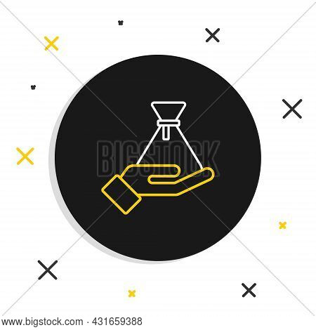 Line Bribe Money Bag Icon Isolated On White Background. Bill Currency. Colorful Outline Concept. Vec
