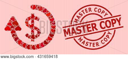 Scratched Master Copy Stamp Seal, And Red Love Heart Mosaic For Refund. Red Round Stamp Seal Contain
