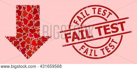 Distress Fail Test Stamp Seal, And Red Love Heart Collage For Fall Down Arrow. Red Round Stamp Seal