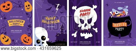 Happy Halloween Greeting Card Collection. Halloween Posters Design With Different Scary Illustration