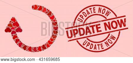 Grunge Update Now Stamp Seal, And Red Love Heart Mosaic For Rotate Right Arrow. Red Round Stamp Seal