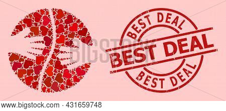 Scratched Best Deal Stamp Seal, And Red Love Heart Mosaic For Cooperation Hands. Red Round Stamp Con