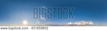 Clear Blue Sky Hdri 360 Panorama With White Clouds. Seamless Panorama With Zenith For Use In 3D Grap