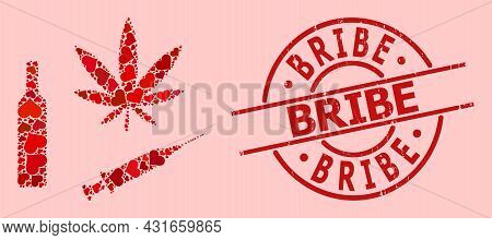 Grunge Bribe Stamp Seal, And Red Love Heart Collage For Narcotic Drugs. Red Round Stamp Seal Contain
