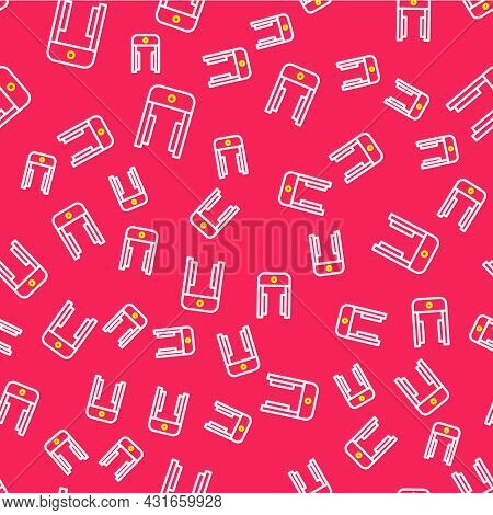 Line Metal Detector In Airport Icon Isolated Seamless Pattern On Red Background. Airport Security Gu