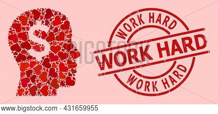 Textured Work Hard Stamp Seal, And Red Love Heart Mosaic For Banker Head. Red Round Stamp Seal Inclu