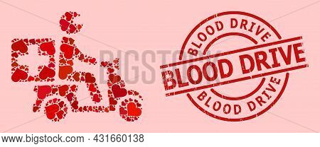 Distress Blood Drive Stamp, And Red Love Heart Collage For Medical Motorbike. Red Round Stamp Contai