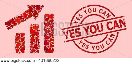 Rubber Yes You Can Stamp Seal, And Red Love Heart Pattern For Up Trend Bar Chart. Red Round Stamp Se