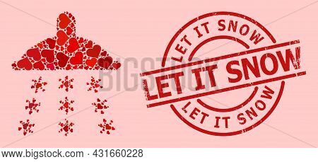 Scratched Let It Snow Stamp Seal, And Red Love Heart Collage For Snow Shower. Red Round Stamp Seal H