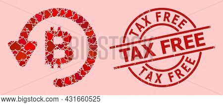 Rubber Tax Free Stamp, And Red Love Heart Mosaic For Bitcoin Refund. Red Round Stamp Includes Tax Fr