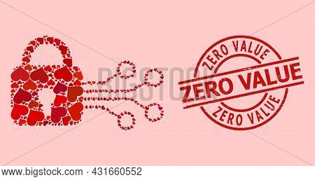 Rubber Zero Value Stamp Seal, And Red Love Heart Collage For Digital Lock. Red Round Stamp Seal Incl