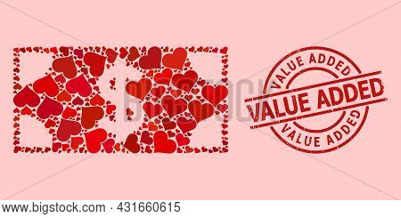 Textured Value Added Stamp Seal, And Red Love Heart Mosaic For Dollar Banknote. Red Round Stamp Seal