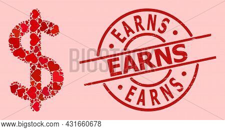 Rubber Earns Badge, And Red Love Heart Collage For Dollar Sign. Red Round Badge Includes Earns Tag I