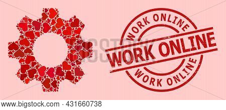 Grunge Work Online Stamp Seal, And Red Love Heart Mosaic For Gear. Red Round Stamp Seal Includes Wor