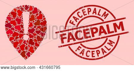 Scratched Facepalm Stamp Seal, And Red Love Heart Pattern For Notice Map Pointer. Red Round Stamp Se