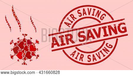 Rubber Air Saving Stamp, And Red Love Heart Mosaic For Virus Spray. Red Round Stamp Has Air Saving C