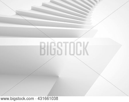 Abstract White Parametric Spiral Structure, Triangular Helix Frame Over White Background, 3d Illustr