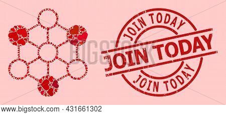 Scratched Join Today Stamp, And Red Love Heart Collage For Blockchain. Red Round Stamp Contains Join