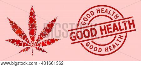 Textured Good Health Stamp, And Red Love Heart Mosaic For Cannabis. Red Round Stamp Has Good Health