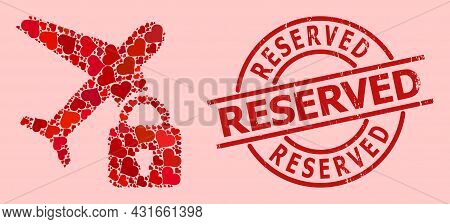 Scratched Reserved Stamp Seal, And Red Love Heart Collage For Locked Airplane. Red Round Stamp Seal