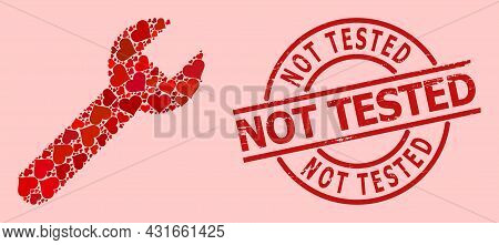 Distress Not Tested Stamp Seal, And Red Love Heart Pattern For Wrench. Red Round Stamp Seal Has Not