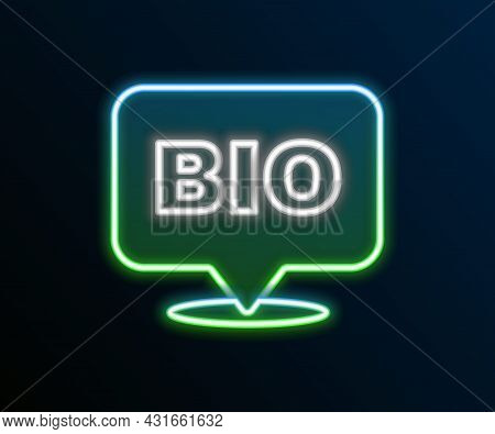Glowing Neon Line Bio Green Healthy Food Icon Isolated On Black Background. Organic Product. Healthy