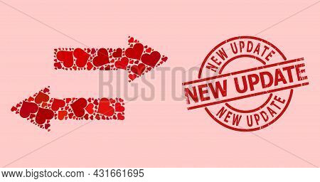 Rubber New Update Seal, And Red Love Heart Mosaic For Horizontal Exchange Arrows. Red Round Seal Inc