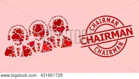 Scratched Chairman Stamp, And Red Love Heart Collage For Call Center Staff. Red Round Stamp Includes