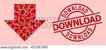Grunge Download Seal, And Red Love Heart Collage For Download Arrow. Red Round Seal Has Download Tit
