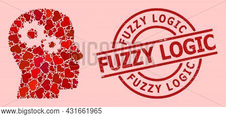 Distress Fuzzy Logic Stamp Seal, And Red Love Heart Mosaic For Head Gears. Red Round Stamp Seal Incl