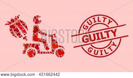 Grunge Guilty Stamp Seal, And Red Love Heart Collage For Opium Motorbike Delivery. Red Round Stamp S