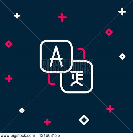Line Translator Icon Isolated On Blue Background. Foreign Language Conversation Icons In Chat Speech