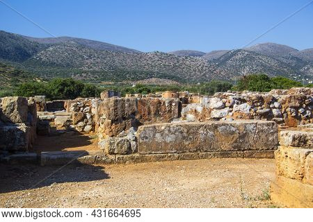 Ruins Of The Minoan Palace In Malia. Remains Of The Ancient Premises Of The Palace. Malia Palace Arc