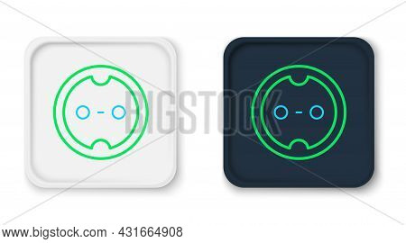 Line Electrical Outlet Icon Isolated On White Background. Power Socket. Rosette Symbol. Colorful Out
