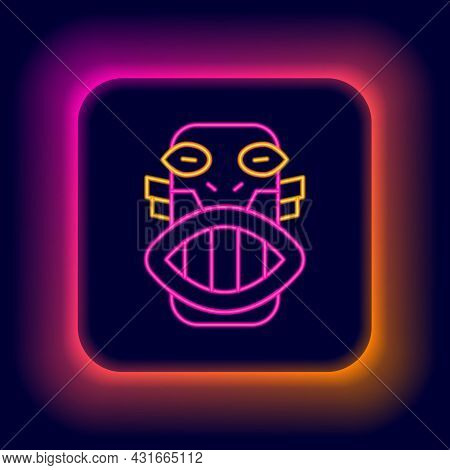 Glowing Neon Line Mexican Mayan Or Aztec Mask Icon Isolated On Black Background. Colorful Outline Co