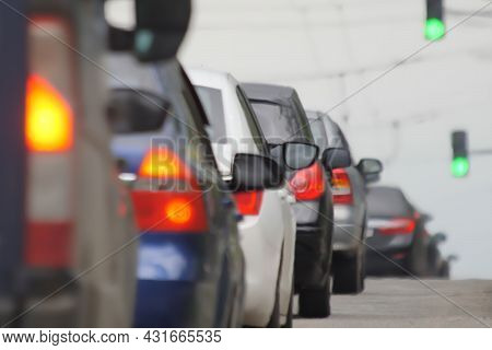Blur Background Road City Congestion In Rush Hour Car Traffic Day. Blurred Road Car Congestion Traff