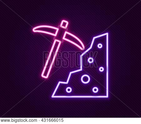 Glowing Neon Line Pickaxe Icon Isolated On Black Background. Colorful Outline Concept. Vector