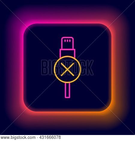 Glowing Neon Line No Usb Cable Cord Icon Isolated On Black Background. Connectors And Sockets For Pc