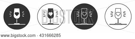 Black Wine Glass Icon Isolated On White Background. Wineglass Sign. Favorite Wine. Circle Button. Ve