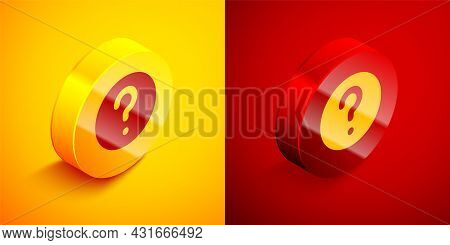 Isometric Unknown Search Icon Isolated On Orange And Red Background. Magnifying Glass And Question M