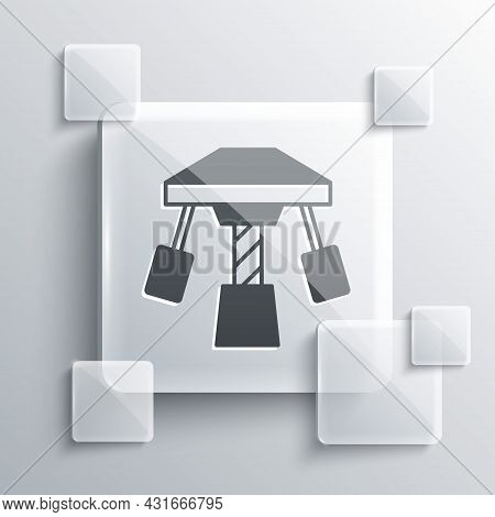 Grey Attraction Carousel Icon Isolated On Grey Background. Amusement Park. Childrens Entertainment P