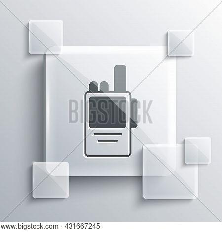 Grey Walkie Talkie Icon Isolated On Grey Background. Portable Radio Transmitter Icon. Radio Transcei