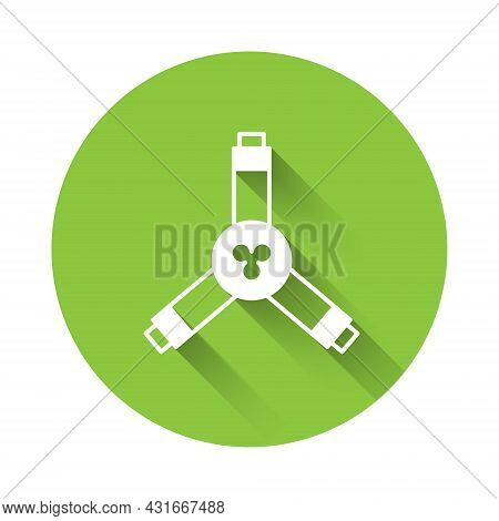 White Skateboard Y-tool Icon Isolated With Long Shadow Background. Green Circle Button. Vector
