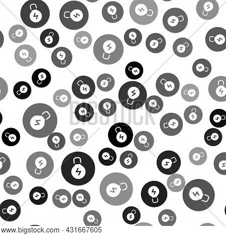 Black Light Bulb With Concept Of Idea Icon Isolated Seamless Pattern On White Background. Energy And